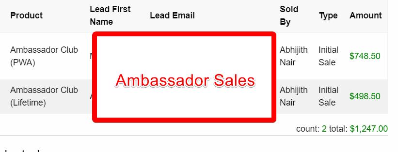 ambassador sales screenshot